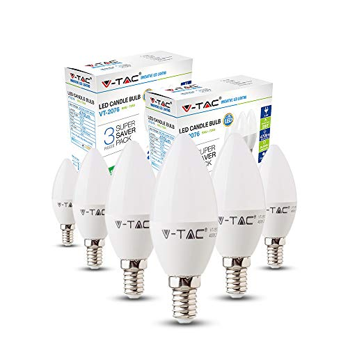 E14 LED Candle Bulbs 30W Equivalent, V-TAC 4W 2700k Warm White LED Candelabra E14 SES Bulbs, Non-Dimmable, 320Lm, LED Light Bulb, Small Edison Screw Candle Light Bulbs, 6-Pack [Energy Class A+]