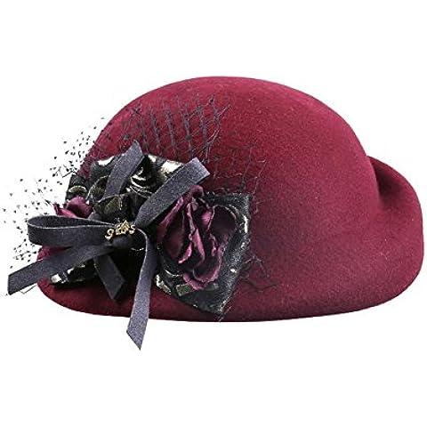 WE&ZHE Lana boinas Bowler Fedora británico de mujeres estilo marea Retro elegante hilado neto sombreros otoño e invierno , deep