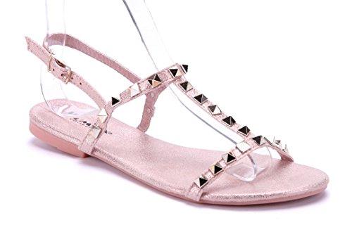 Schuhtempel24 Damen Schuhe Sandalen Sandaletten rosa flach Nieten (Rosa Flache Schuhe)