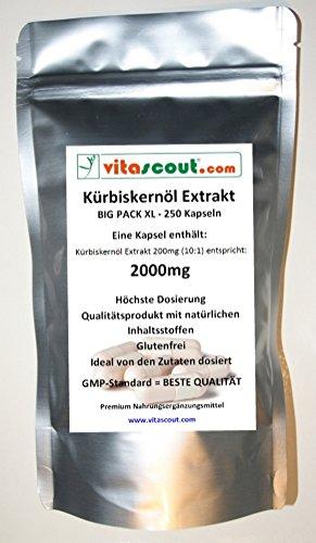 250 Kapseln Kürbiskernöl Extrakt 2000 - HOCHDOSIERT! - PN: 10242