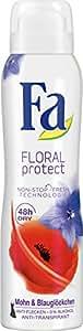 Fa Floral Protect Deospray, Mohn & Blauglöckchen 48h, 3er Pack (3 x 150 ml)