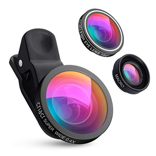 AMIR 3 in 1 Clip-On Handy Objektiv Set, 180°Fisheye Objektiv + 0,4X Weitwinkel + 10X Makro Objektiv, Objektiv für Handy, Objektiv Handy für Samsung, Huawei, HTC & Die meisten Smartphone