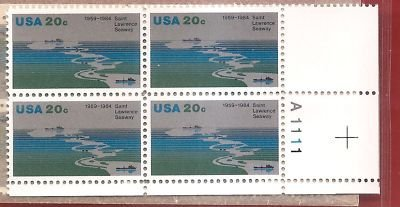 Stamps US Saint Lawrence Seaway Scott 2091 Block of 4 by USPS; US Post Office Dept; US Stamps -