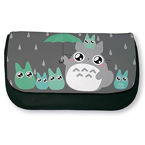 Trousse noire de maquillage ou d'école Mon Voisin Totoro et Parapluie Chibi Kawaii by Fluffy chamalow - Fabriqué en France - Chamalow shop