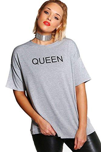 gris Femmes plus georgina t-shirt à slogan «queen» Gris