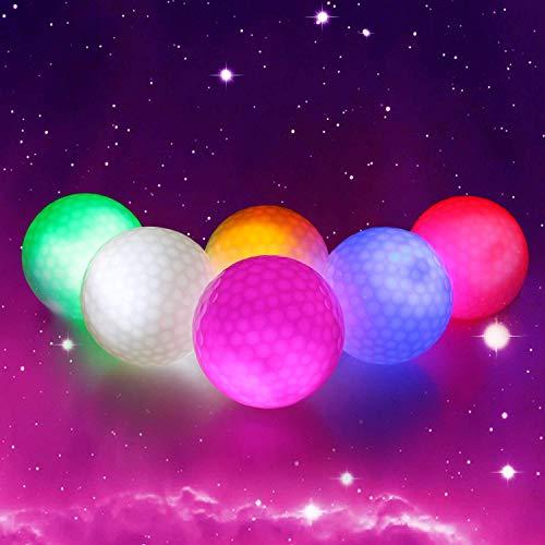 Crestgolf 6 Stück LED Light Up Golfbälle Nachtgolfball Offizielle Größe Glow In Dark Perfekt für Golf-Langstreckenschüsse (pink/rot/blau/grün/orange/weiß) (Glühen Der In Farbe Dunklen Grüne)