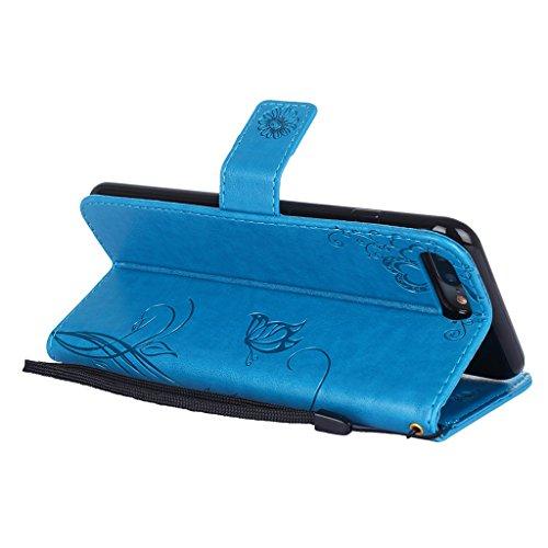 Fodlon® iPhone 7 Plus Hülle Solide Mode Ameisen Dating PU Leder Tasche Schutzhülle Case Magnetverschluss Telefon-Kasten Handyhülle Standfunktion -Lila Blau