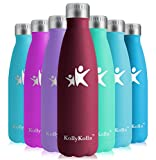 KollyKolla Vakuum Isolierte Edelstahl Trinkflasche, 500ml BPA Frei Wasserflasche Auslaufsicher, Thermosflasche für Kinder, Schule, Mädchen, Sport, Outdoor, Fahrrad, Büro, Fitness (Voll Dunkelrot)