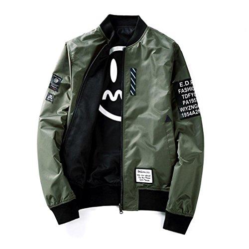 Jacke Herren Pilot dünne Pilot Bomber Jacke Windbreaker Jacke Zwei Seiten tragen GreatestPAK,Armeegrün,XL -