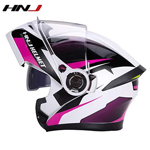 HNJ Motorrad FM Integrierter Bluetooth Klapphelm Motorradhelm Mit Zwei Lautsprechern Und Abnehmbarem L-XXL 59-64cm Motorrad Bluetooth Modularer Klapphelm,White/Pink A-XXL(63-64cm)