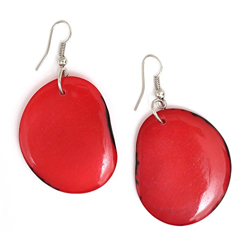 Idin Tagua Ohrringe - Rote Taguascheiben (Länge: ca. 5.6 cm)