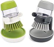 Dishwashing Brush With Liquid Soap Dispenser For Pan Pot Utensil, Sink washer Brush, Kitchen Cleaning Palm Scr
