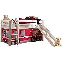 """VIPACK PICOHSGB1470 Spielbett Pino mit Rutsche und Textilset """"Feuerwehr"""", Maße 210 x 114 x 218 cm, Liegefläche 90 x 200 cm, Kiefer massiv weiß lackiert"""