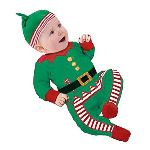 K-youth® Baratas Bebe Niño Ropa Navidad Invierno Papá Noel Mameluco Pelele Bebé Niños Niñas+Sombrero (Verde, Edad: 12-18 meses)