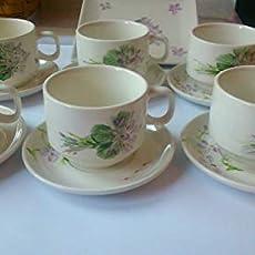 Set juego de cafe o té esmaltado, floral, ramito violetas.