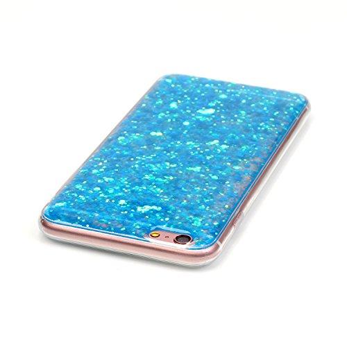 """iPhone 7Plus Handyhülle, iPhone 7Plus Liquid TPU Case, CLTPY Kreativ 3D Fließen Flüssig Bling Schwimmend Treibsand Herz, Glanz Shiny Kristallklar Schale Etui für 5.5"""" Apple iPhone 7Plus (Nicht iPhone  Blaue Paillette"""