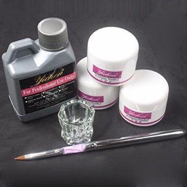 Lcsndice set 6 in 1 nail art kit penna acrilica in polvere liquida dappen set da tavola 46 (a)