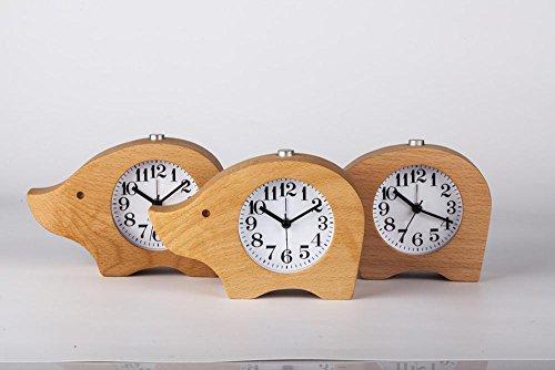 KHSKX Schwein Buche Holz kreative Studenten Uhr dekorative Uhren Rhino stumm Schlafzimmer Bett (Diy Kostüme Schwein)