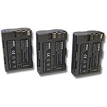 3 x vhbw Li-Ion batería Set 2000mAh (7.2V) para cámara Nikon D80, D90, D900, DSLR D700 por EN-EL3, EN-El3A, EN-EL3E.