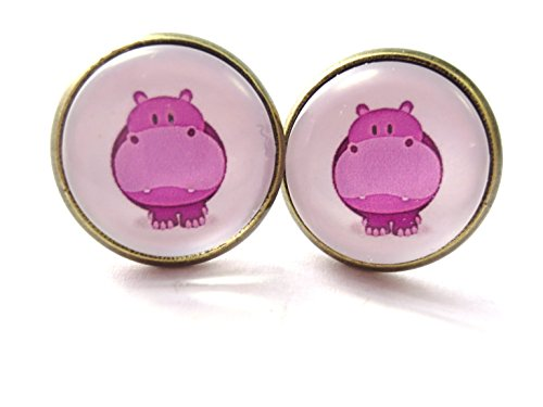 Nilpferd Motiv Cabochon Ohrstecker 12mm kawaii Tier Ohrringe