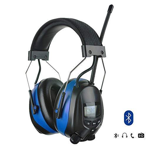 PROTEAR Bluetooth Gehörschutz mit Digitalem AM/FM Radio, professionelle Noise Reduction NRR 25dB, elektronische Ohrenschützer für Mähen-Bauer