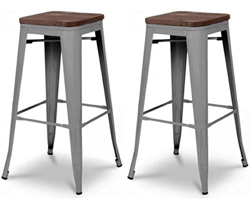 Tabouret de bar design industriel HARLEM (lot de 2) gris