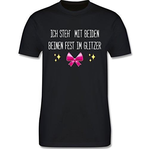 Statement Shirts - Ich steh' mit beiden Beinen fest im Glitzer - Herren Premium T-Shirt Schwarz