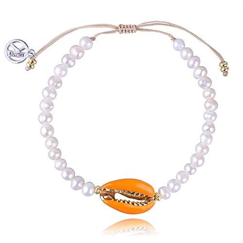 KELITCH Armbänder Damen Herren Japanische Conch Shell Perle Delicate Glänzende Perle Handgemachte Verstellbare String Bangle Freundschaft Charme Armband Frauen Männer (Orange) (Freundschaft String Armband)
