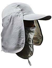 Unisexe Chapeau de Soleil Casquette Visière/Baseball Sport Séchage Rapide Protection Solaire Chapeau de plein air avec Masque Amovible Anti-UV/Moustique Respirant pour Pêche Cyclisme Chasse UPF50+