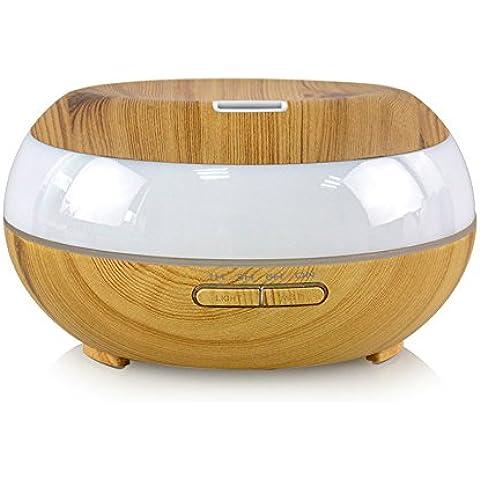 DSRAY Eléctrico ultrasónico de aromaterapia humidificador de vapor frío con 4 modos de ajuste de hora 7 LED que cambia de colores muy silenciosa Lite 300ML Grano de Madera