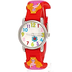 Cute Pure Time Children's Watch-Kids Silicone Watch Princess Red Case/Cover + Watch Box