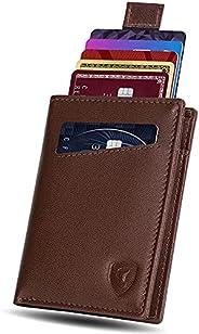 SKENZBI® RFID Wallet For Men - 12 Slot Card Holder Minimalist Wallet - Space for Cash, ID Window - Slim Leathe