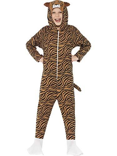 Luxuspiraten - Kinder Jungen Mädchen Kostüm Plüsch Tiger Fell Einteiler Onesie Overall Jumpsuit, perfekt für Karneval, Fasching und Fastnacht, 122-134, - Plüsch Tiger Kostüm