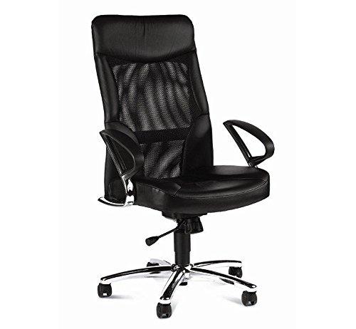 Chefsessel in Echtleder schwarz mit Relax-Funktion inkl. Armlehen, Wippmechanik und atmungsaktiver Netzbespannung, Sitzbreite 50 cm