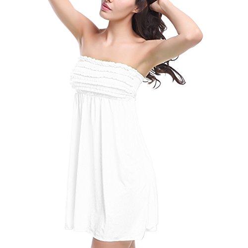 JIAJIA - Copricostume - Reggiseno a fascia - Basic - Senza maniche  -  donna Bianco