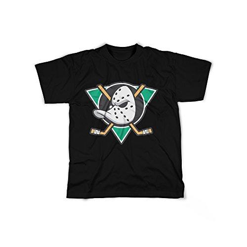 Männer T-Shirt mit Aufdruck in Schwarz Gr. XL Ente Eishockey Team Design Boy Top Jungs Shirt Herren Basic 100% Baumwolle Kurzarm
