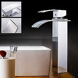Auralum®Grifería de cocina Grifo Cromo lavabo del bano con Manguera para Fregadero Lavabo Cocina Alta Calidad,con el diseño moderno, el estilo contemporáneo
