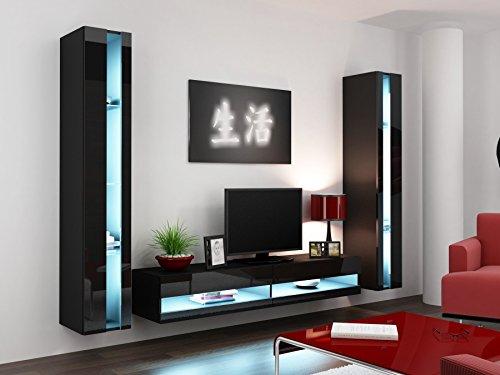 Wohnwand VIGO NEW3, Anbauwand, Wohnzimmer Möbel, Hochglanz !!! Mit LED Beleuchtung !!!