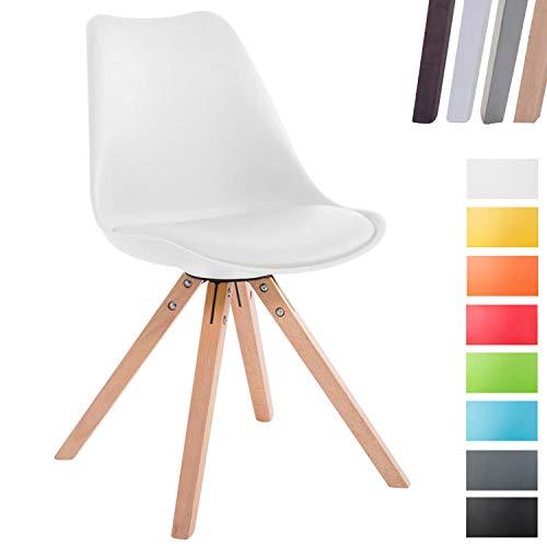 CLP Design Retro-Stuhl Toulouse Square mit Kunstlederbezug und Sitzpolster   Kunstoff-Lehnstuhl mit Holzgestell Weiß, Gestellfarbe: Natura, Beinform: eckig
