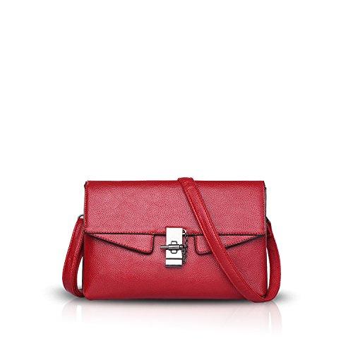NICOLE&DORIS Damen Handtaschen Umhängetasche Henkeltaschen Schultertaschen Crossbody Tote Wasserdicht PU Grau Rot