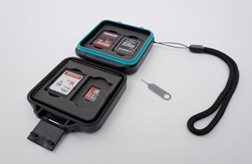 Ares foto custodia protettiva per scheda di memoria • custodia per scheda per 4 x schede sd e 4 x micro sd e schede sim • include cavo per il trasporto e ago sim