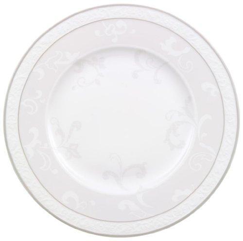 Villeroy & Boch - Assiette de Petit-Déjeuner Gray Pearl, Petite Assiette au Décor Filigrane en Porcelaine Bone, Compatible Lave-Vaisselle, 220 mm