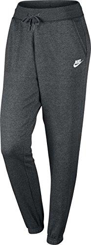 Nike Damen Sportswear Fleece Regular Hose Charcoal Heather/Dark Grey/White
