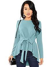 ILLI LONDON Women's Regular FIT HIGH Low Solid Blouse TOP & T-Shirt