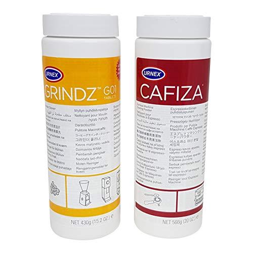 Urnex Brands Grindz Kaffeemühlen-Reiniger Granulat und Urnex Brands 12-ESP20 Cafiza Espressomaschinenreiniger Kaffeefettlöser im Doppelpack -
