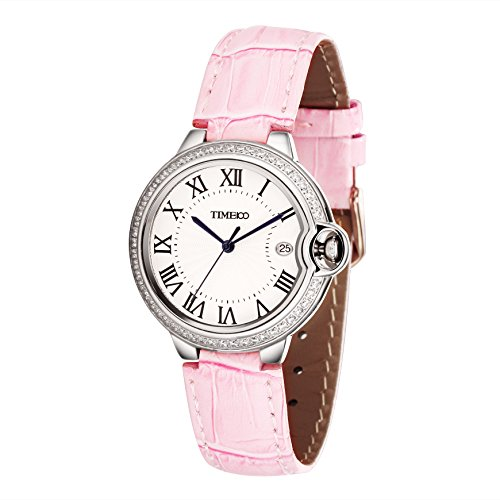 Time100 W50417L.02A Reloj pulsera de joya diamante con cifra romana, estilo tradicional, correa de ante de color rosa