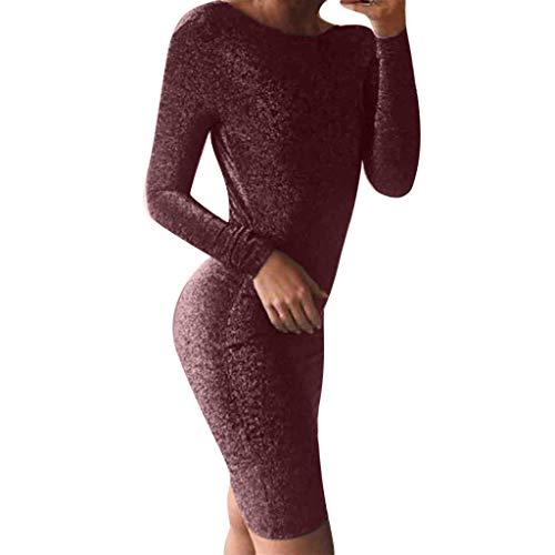 Mode Lange Ärmel Rückenfrei Bodycon Kleid,Resplend Damen A-Linie Slim Fit Wickelkleid Abendkleid Hüftkleid Abend Prom Partykleid Kniekleid Bleistift kleid