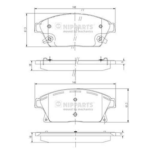 Nipparts N3600915 Pastiglie per Freni per Applicazioni As