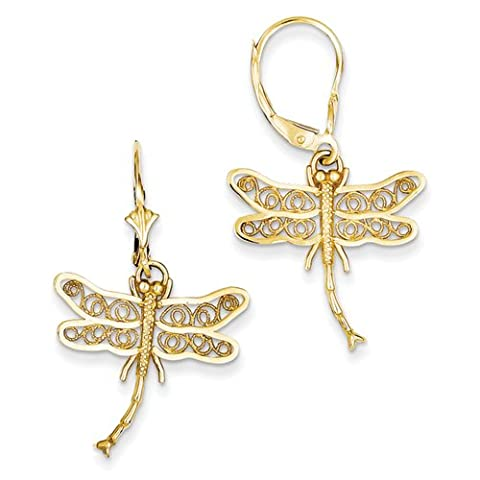 14k Dragonfly Filigree Wings Leverback Earring by