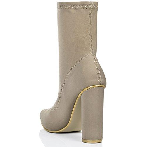 SPYLOVEBUY SCIRICA Femmes à Talon Bloc Bottines Chaussures Brun - Lycra